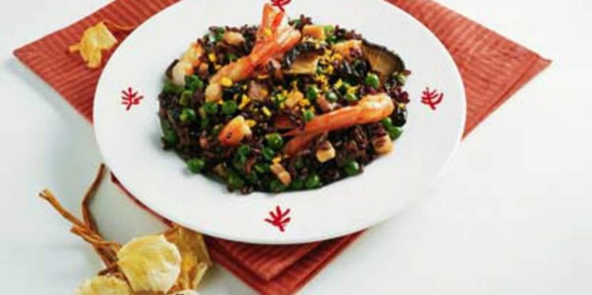 Salade de riz noir aux crevettes