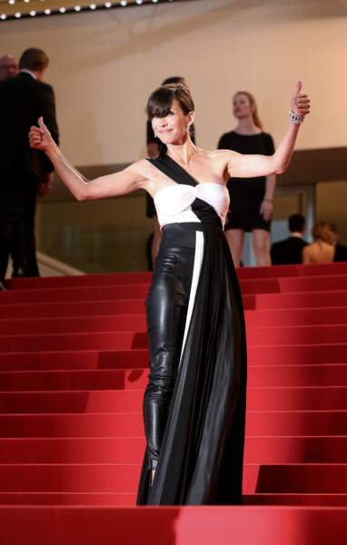 Sophie Marceau en 2015 en tenue rayée