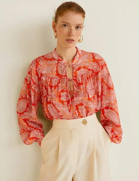 Tendance orange : la blouse imprimée