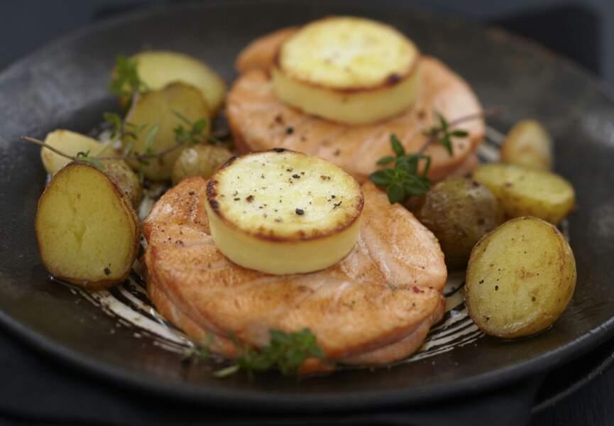 Noisette de saumon au chèvre et pommes grenaille
