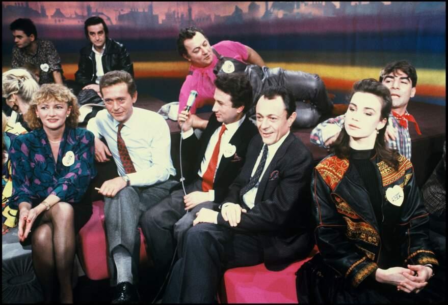 Dick Rivers, Coluche et Michel Drucker pour le lancement des Restos du Coeur le 24 janvier 1985.