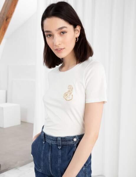 Tee-shirt blanc : félin