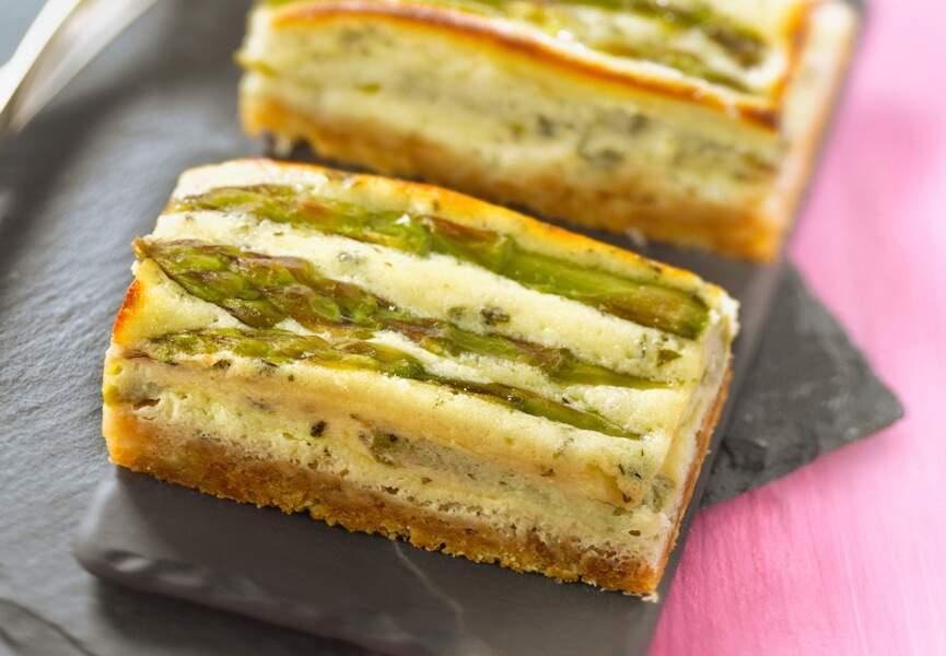 Cheesecake aux asperges vertes, mascarpone et pecorino