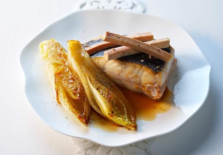 Pavé de turbot rôti au foie gras fondant