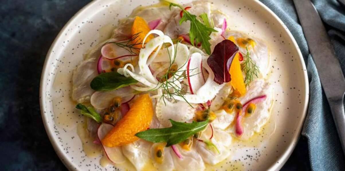 Ceviche de dorade royale aux agrumes, radis, fenouil et vinaigrette au fruit de la passion