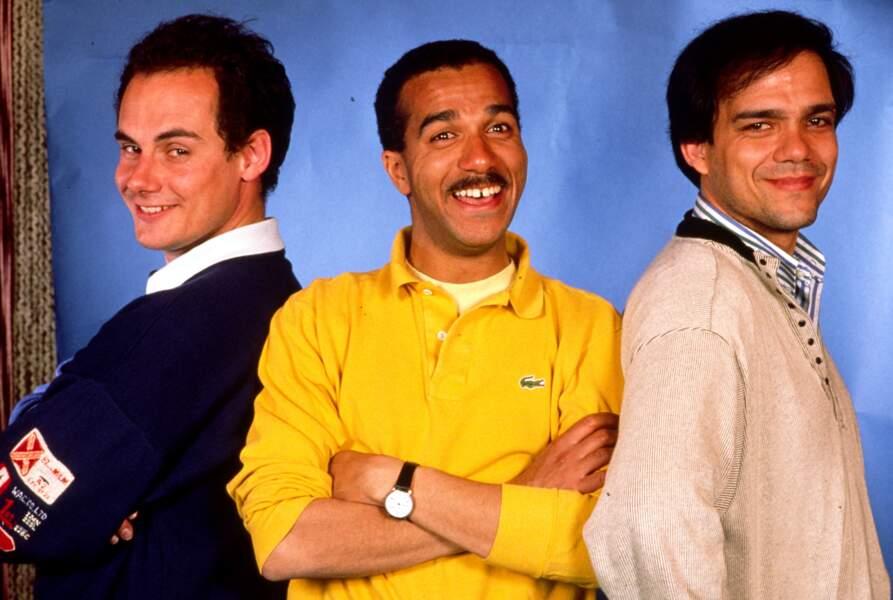 Les Inconnus (Didier Bourdon, Pascal Légitimus, Bernard Campan) en 1989.