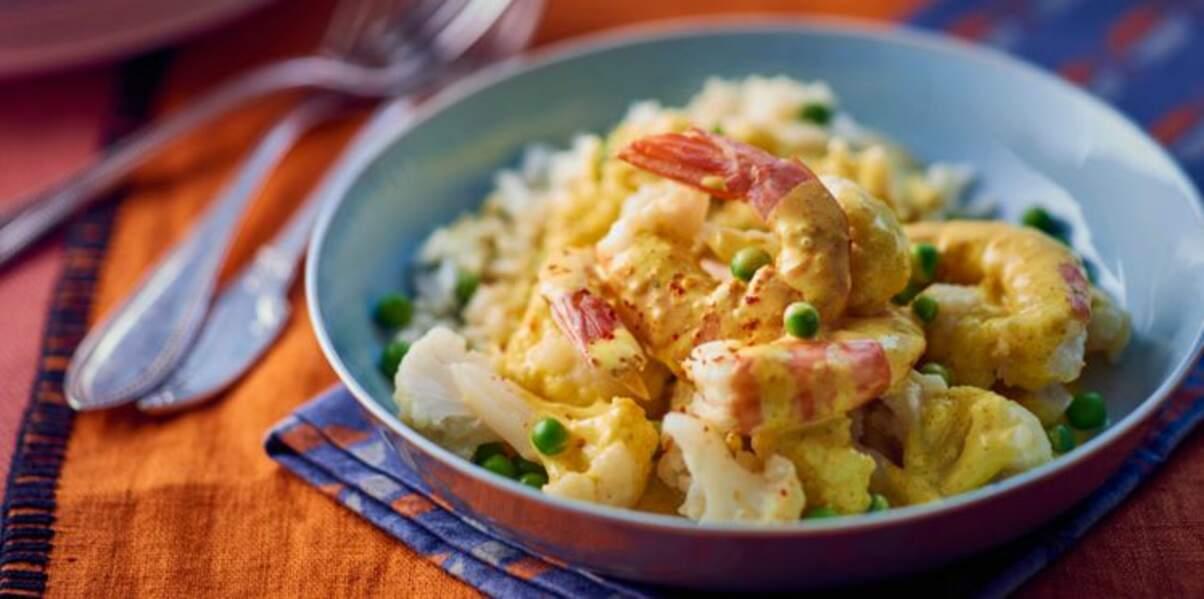 Curry minute aux belles crevettes