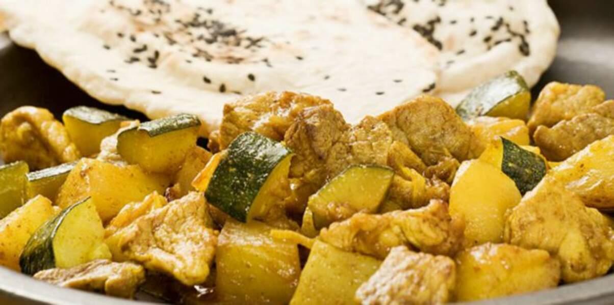 Curry de porc à la courgette et raisins