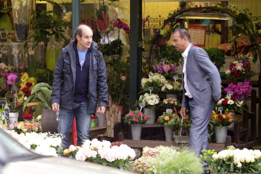 """Les Inconnus se retrouvent pour le tournage de  la suite du film """"Les Trois Frères"""" en 2013 à Paris."""