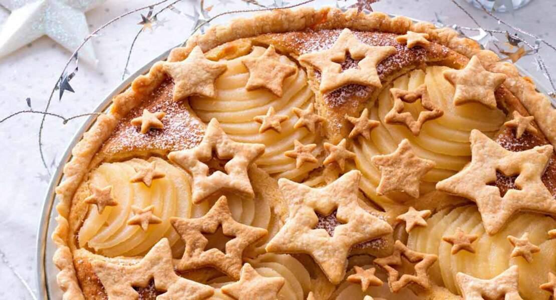 Tarte aux poires décorée de sablés en étoile