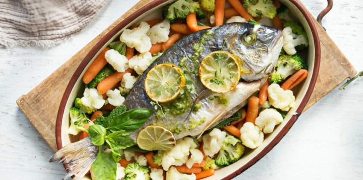 Dorade au four et légumes vapeur Florette