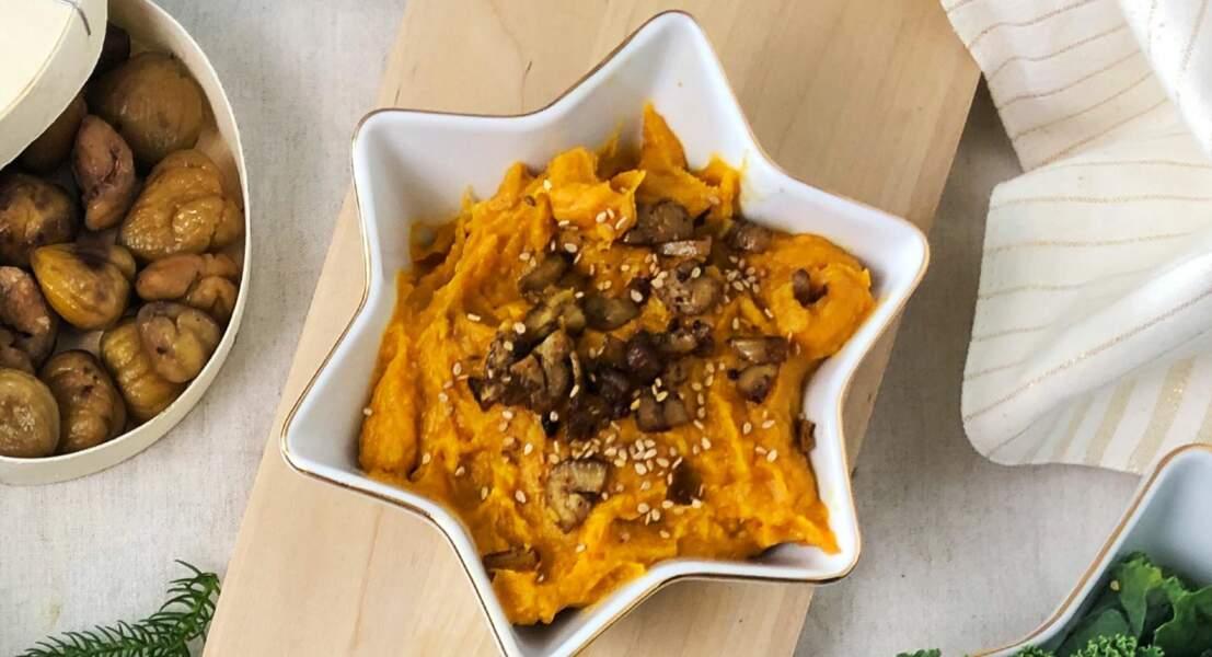 Purée de patate douce à la crème de coco et marrons