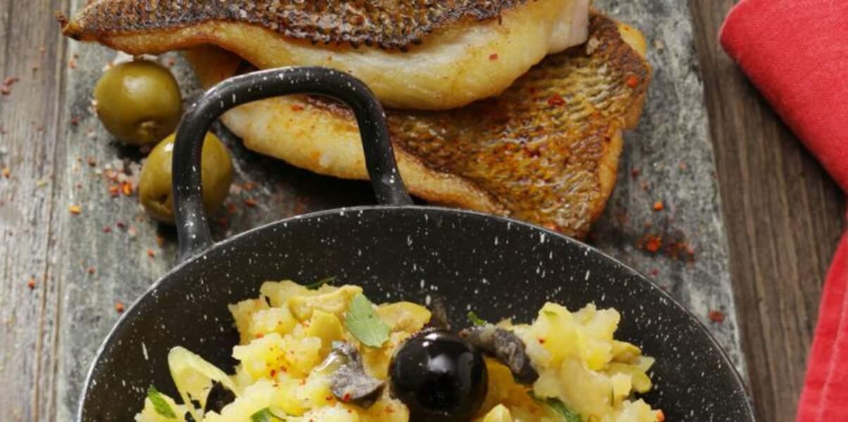 Filet de daurade rôti, purée de pommes de terre aux olives et cive