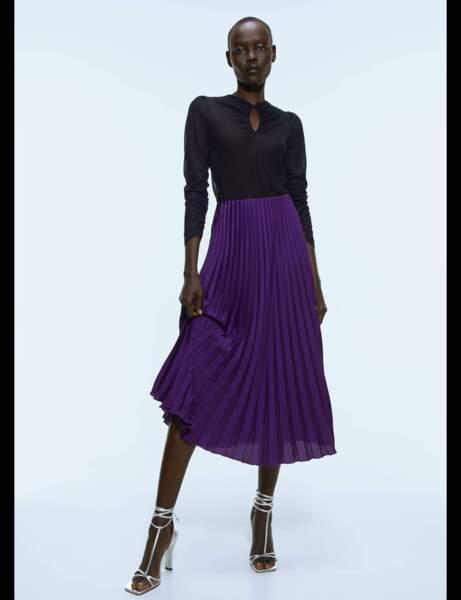 Tendance violet : jupe plissée