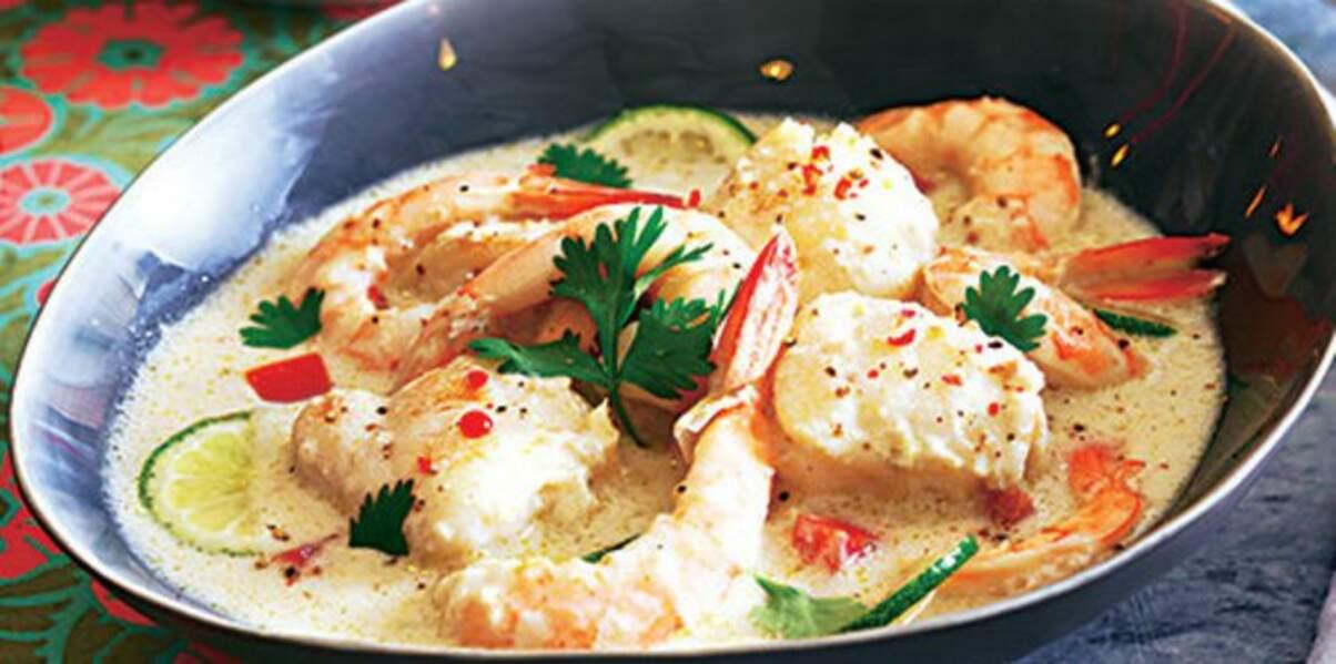 Curry de lotte et crevettes