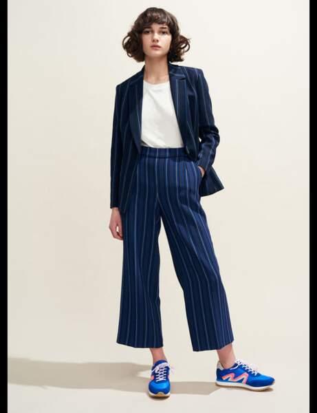 Tailleur pantalon : à rayures