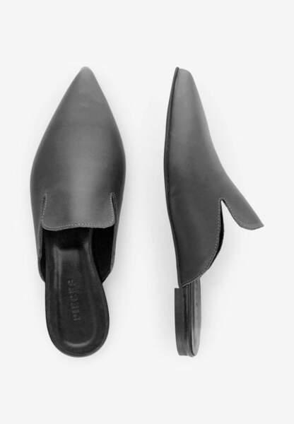 Tendance chaussures plates : mules en cuir lisse