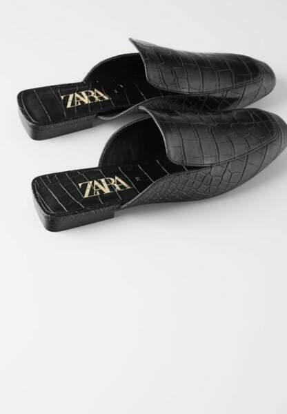 Tendance chaussures plates : mules effet croco