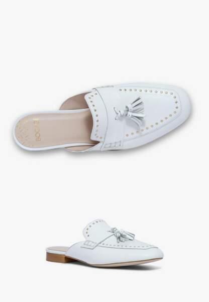 Tendance chaussures plates : mules en cuir