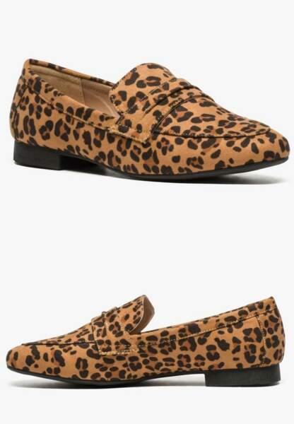 Tendance chaussures plates : mocassins imprimé léopard