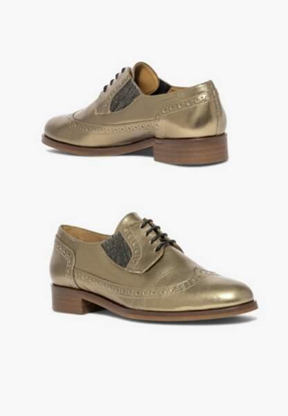 Tendance chaussures plates : derbies dorées