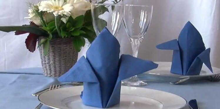 Pliage de serviette: la forme avion