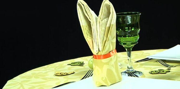 Pliage de serviette : la forme lapin