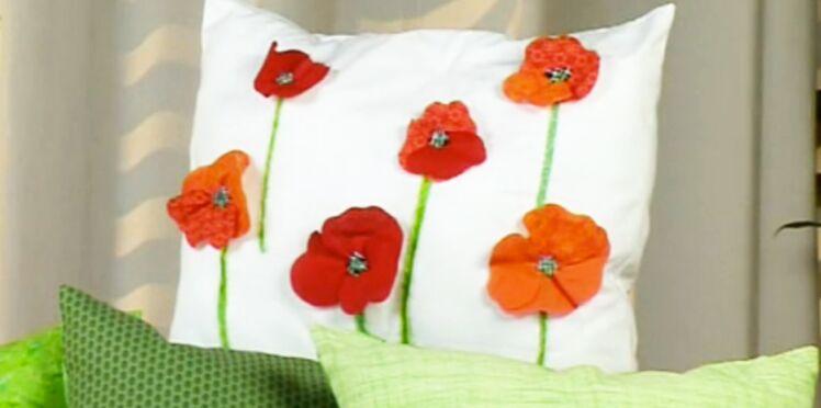 Je crée des coussins fleuris en patchwork