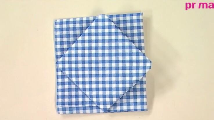 Pliage de serviette : le carré dans le carré