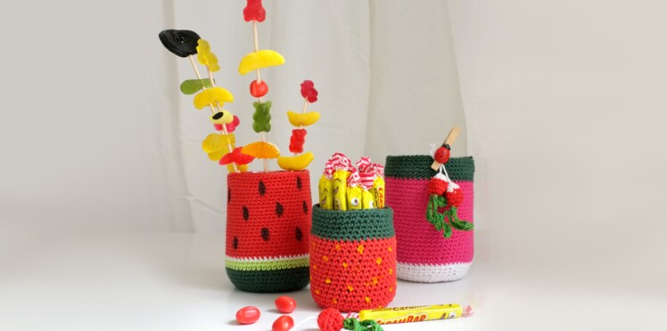 Des pots gourmands au crochet