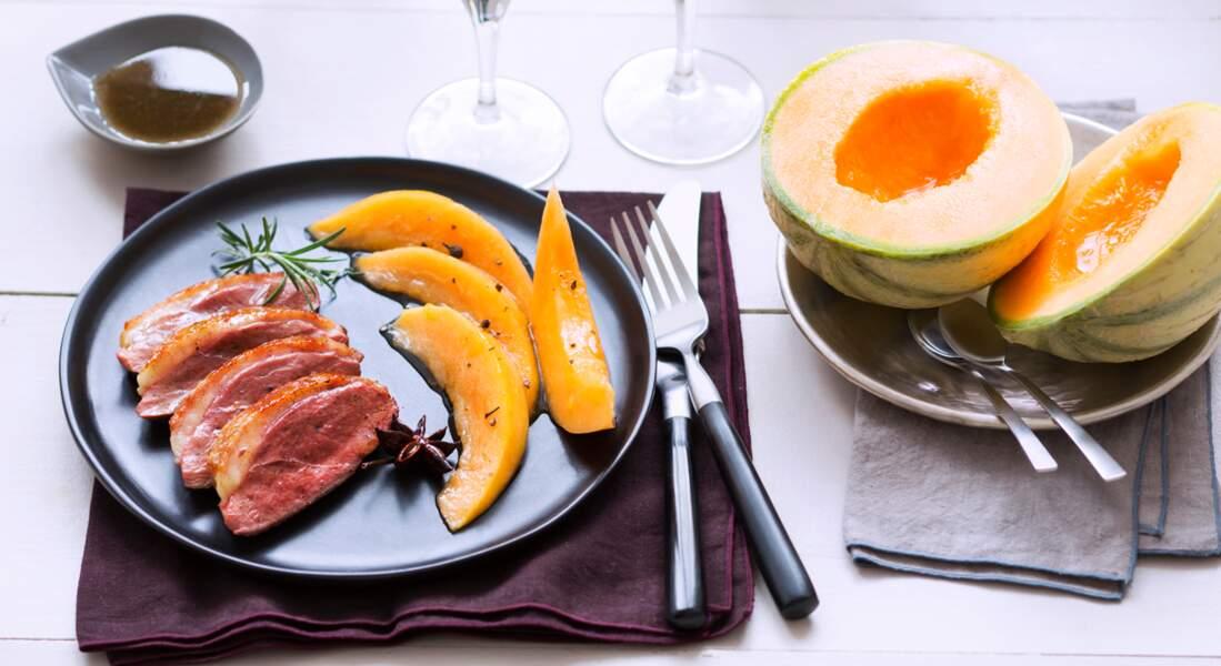 Magret de canard aux épices et au melon caramélisé