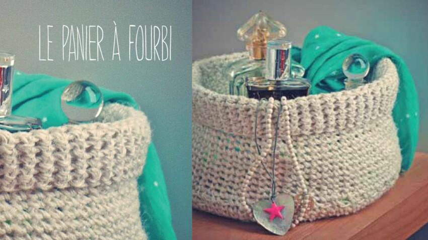 Je tricote un panier de rangement en fil de lin