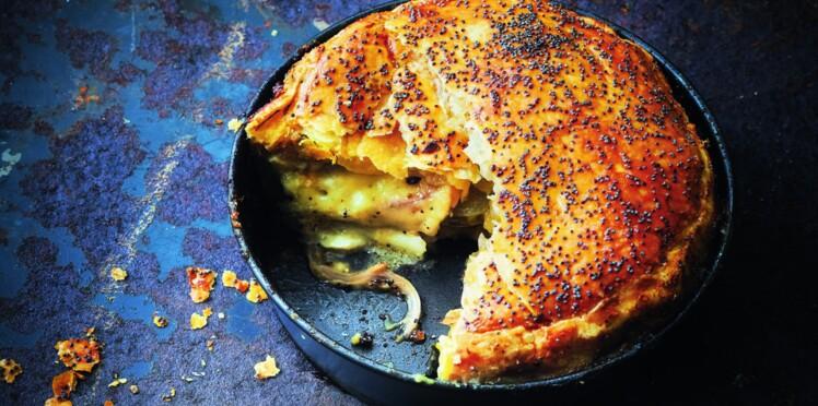 Pie tomate verte, oignon doux et mozzarella