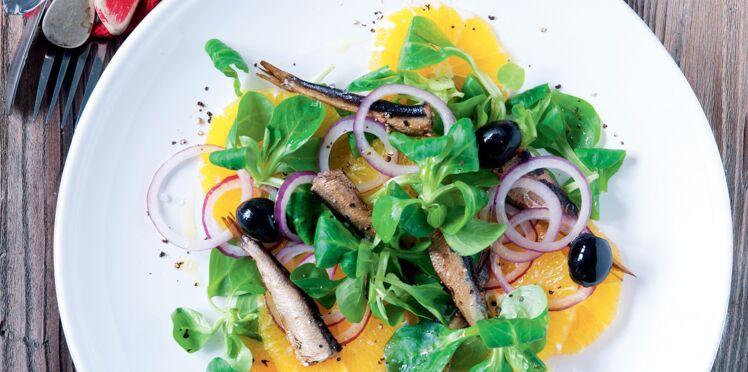 Fraîcheur d'oranges aux olives et anchois