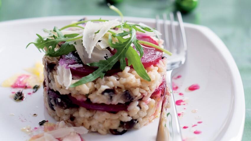 Millefeuille de risotto à la betterave