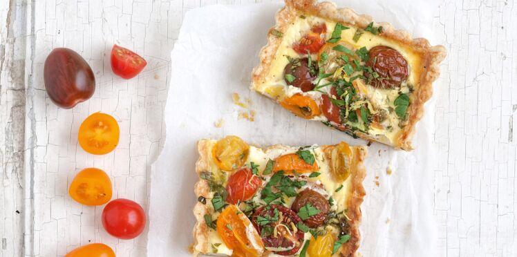 Tarte aux tomates multicolores