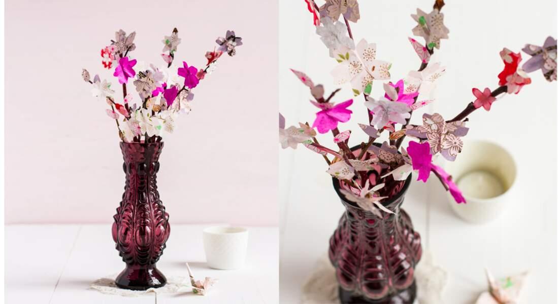 Un bouquet de fleurs en origamis