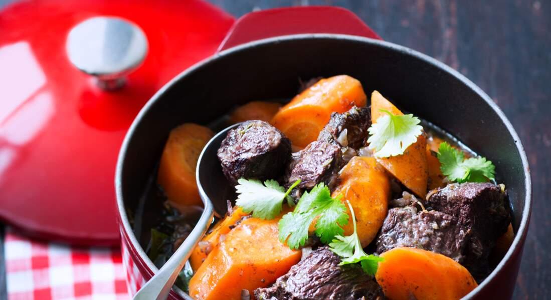 Joue de bœuf et carottes cuisinées au gingembre