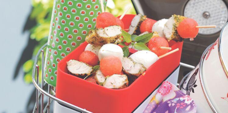 Brochettes de poulet pané au basilic