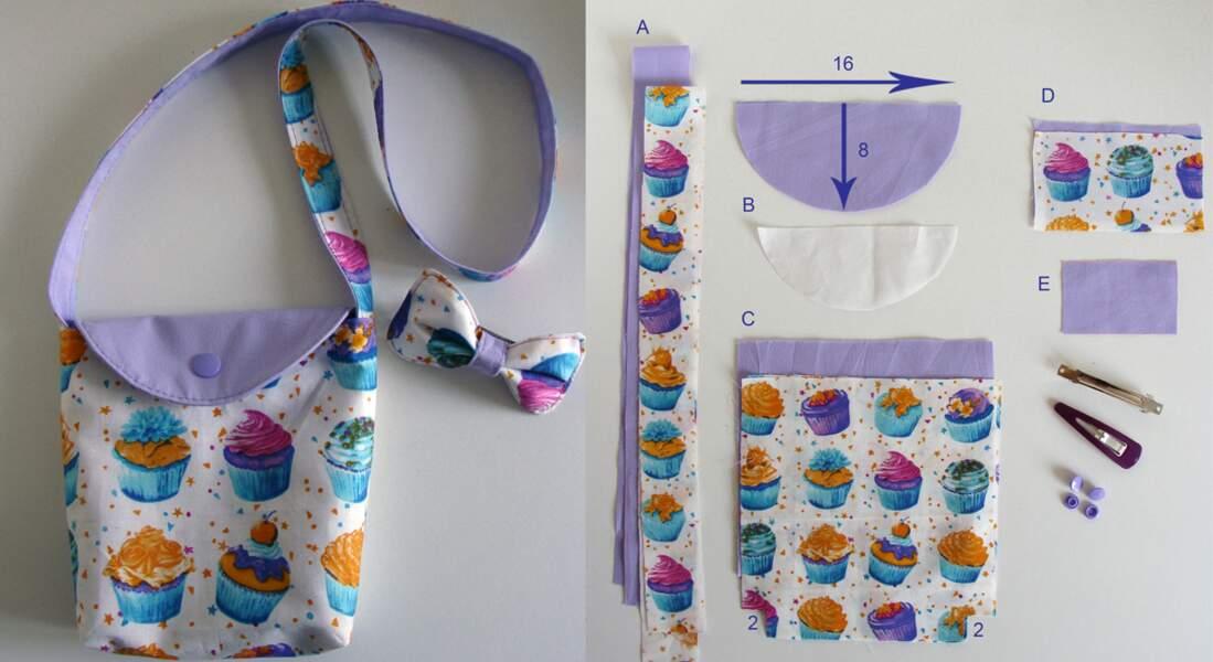 Un sac à goûter en tissu et sa barrette assortie