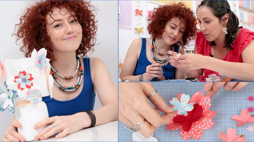 Vidéo : Blandine Bellavoir customise une lampe en origami