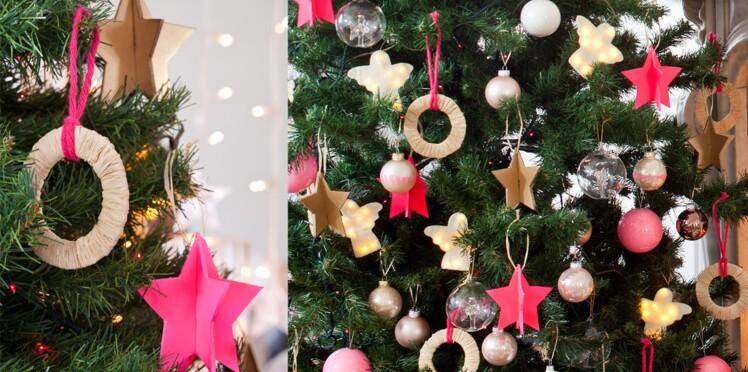 Déco de sapin : une étoile fluo et un anneau en raphia