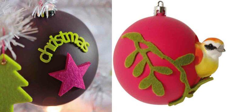Des boules de Noël en feutrine