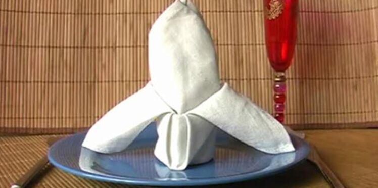 Pliage de serviette en forme de lys
