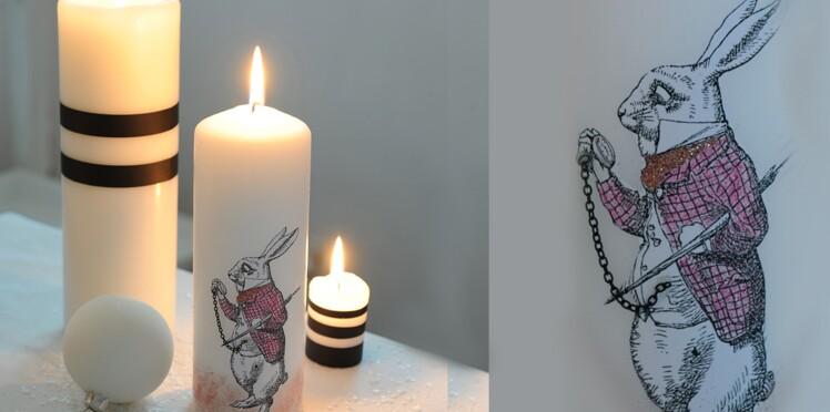 Custom : une bougie lapin