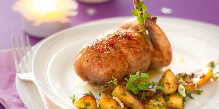 Cailles farcies au fois gras et pommes de terre rattes