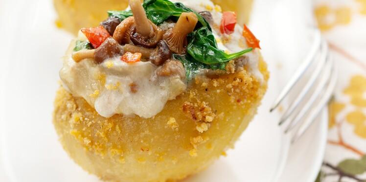 Pommes de terre farcies épinards-champignons