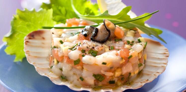 Tartare d'huîtres et de saint-jacques au gingembre