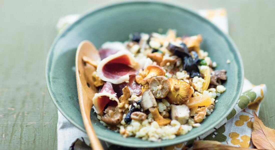 Une recette de céréales tièdes aux champignons