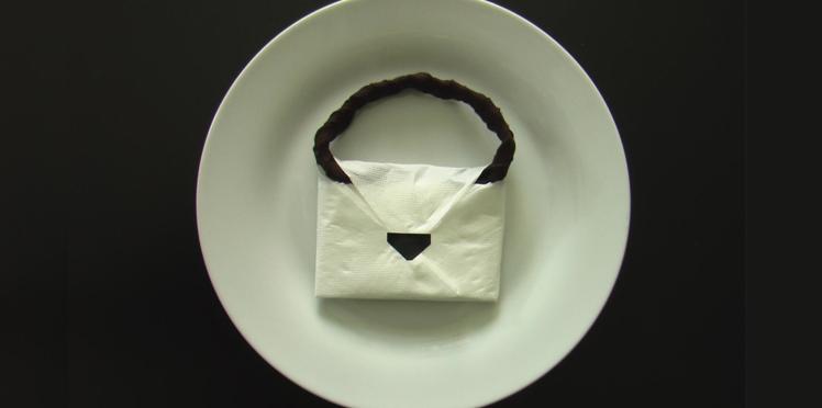 Pliage de serviette : le sac à main